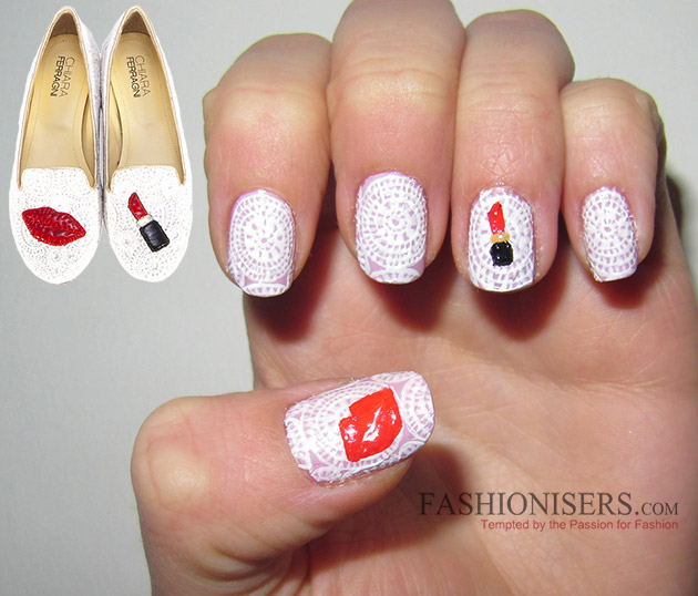 Chiara Ferragni Shoes Inspired Nail Art Designs: Lipstick Lace Nails