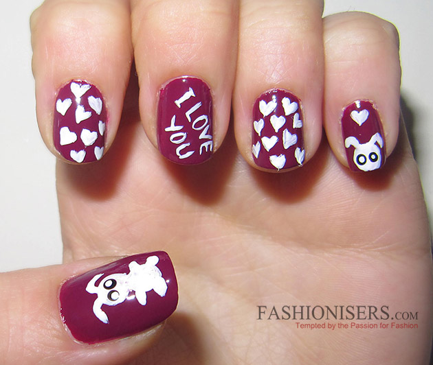17 Love-Inspired Valentine's Day Nail Art Designs: Bunny Nails