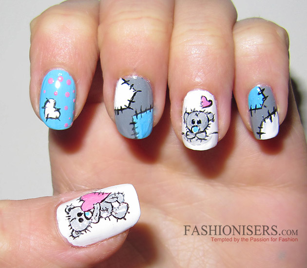 17 Love-Inspired Valentine's Day Nail Art Designs: Me To You Bear Nails