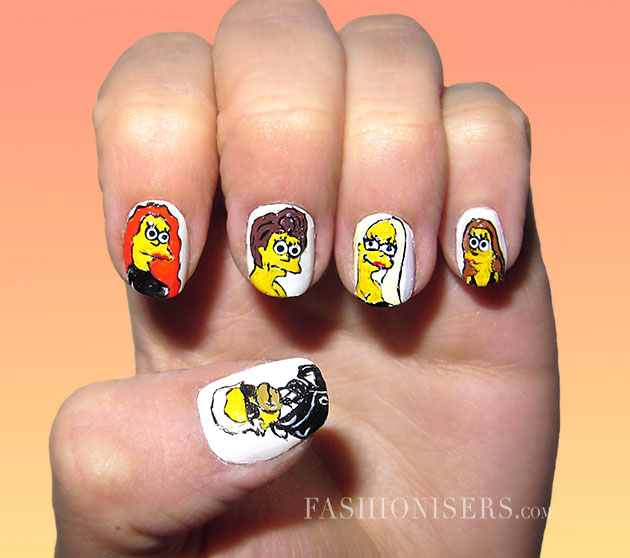 20 Cute Cartoon Inspired Nail Art Designs - 20 Cute Cartoon Inspired Nail Art Designs Fashionisers©
