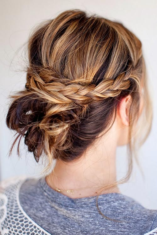 Updo Hairstyles For Short Hair Messy Braided Bun