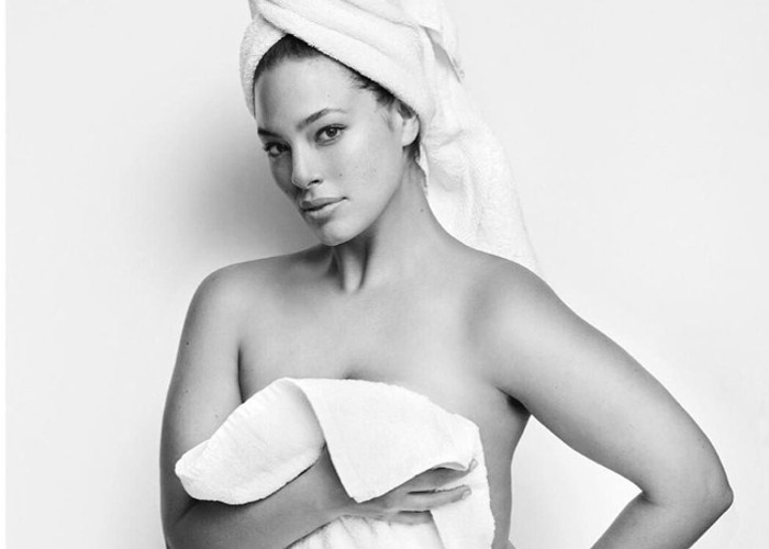 Ashley Graham Is The First Curve Model in Mario Testino's Towel Series Ashley Graham poses with white towel