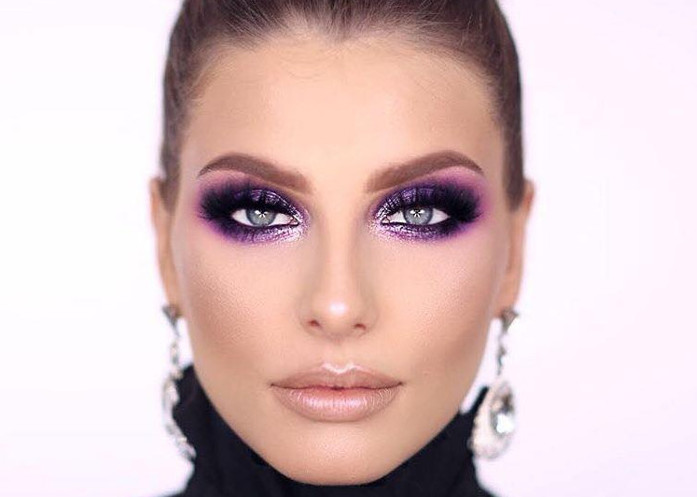 How to Wear The Comeback 80s Makeup Trends Now purple eyeshadow