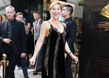 Pregnant Kate Hudson Sports a Lingerie-Inspired Dress