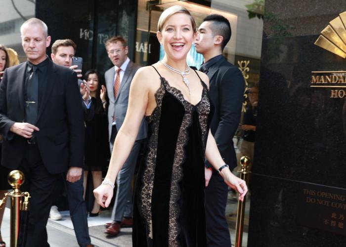 Pregnant Kate Hudson Sports Lingerie Inspired Dress