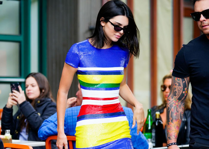 Stop-Everything-Kendall-Jenner-Paired-a-Sequined-Dress-With-Sneakers