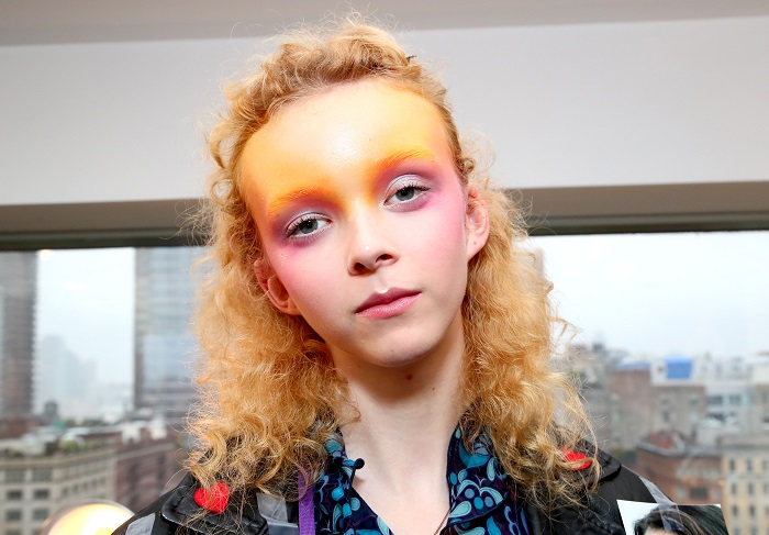 6 Coolest Makeup Looks To Cop From NYFW Runways orange lids forehead pink cheeks