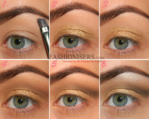Gold Makeup Tutorial With Blue Under Eye Liner Fashionisers