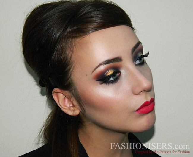 Christmas Beauty Tutorial: Glittery Gold Makeup and Modern Chic Updo