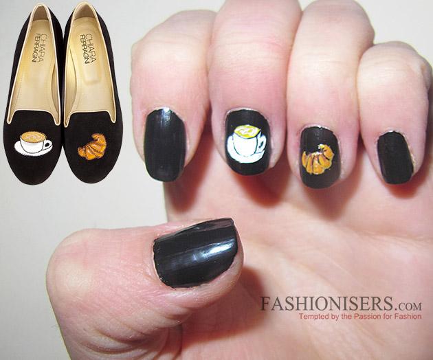 Chiara Ferragni Shoes Inspired Nail Art Designs: Breakfast Nails