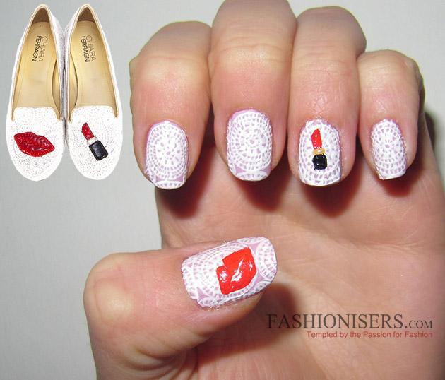 Chiara Ferragni Shoes Inspired Nail Art Designs: Lipstick Lace Nails