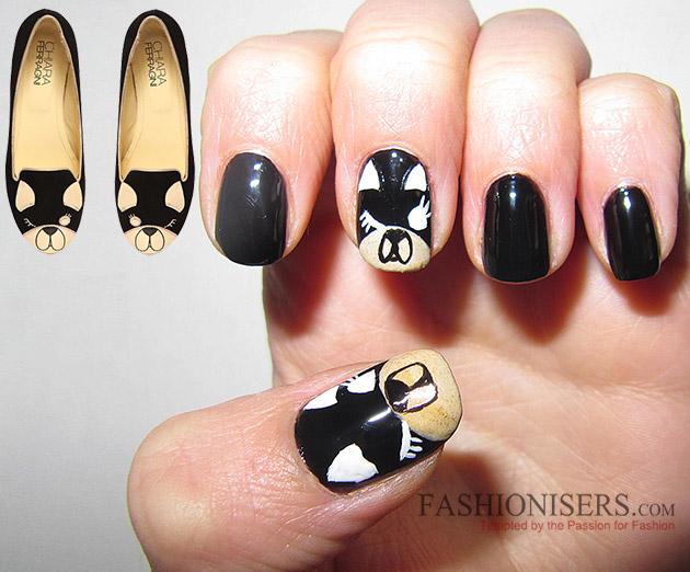 Chiara Ferragni Shoes Inspired Nail Art Designs: Matilda Puppy Nails