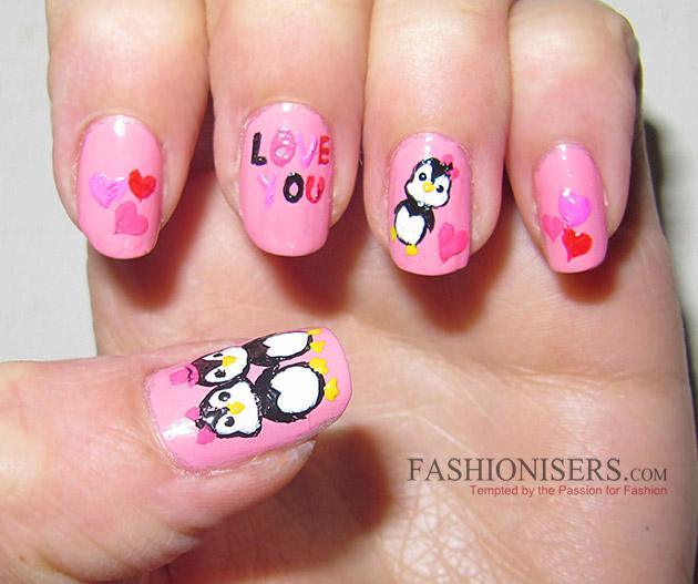 17 Love-Inspired Valentine's Day Nail Art Designs: Loving Penguins Nails