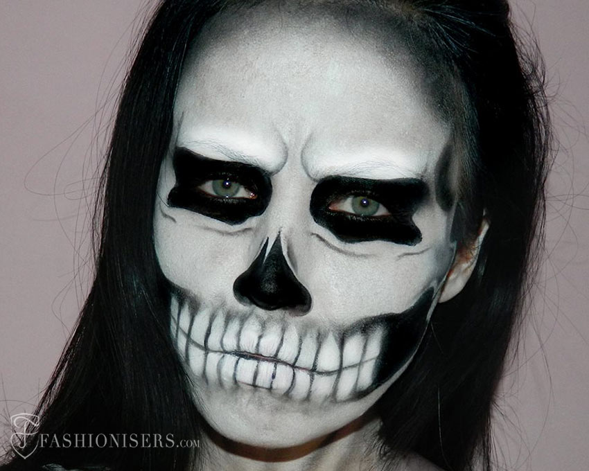 Halloween Make Up Skelet.Lady Gaga Inspired Halloween Skull Makeup Tutorial