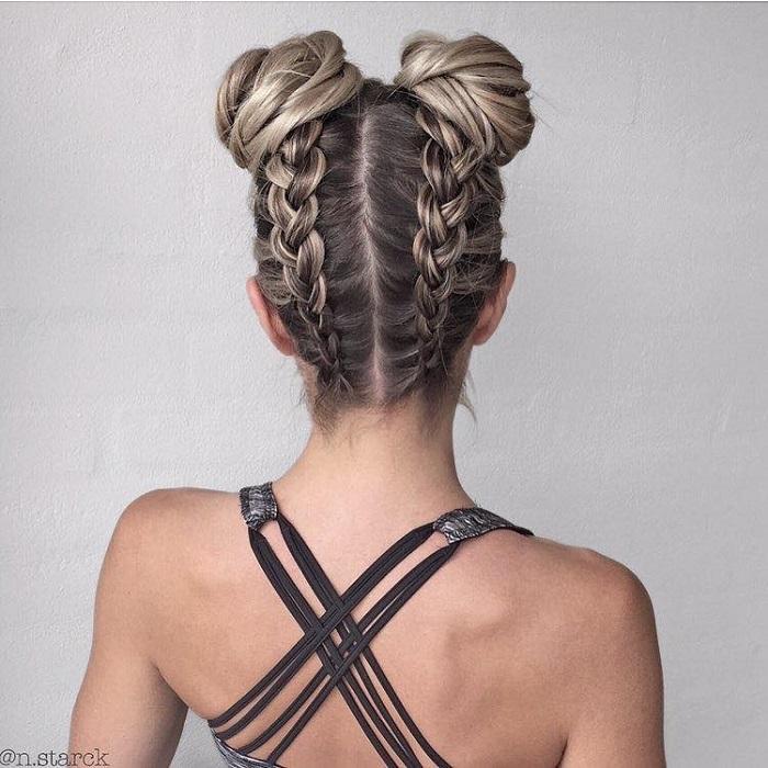 23 Gorgeous Dutch Braid Hairstyles double Dutch braid upside down buns