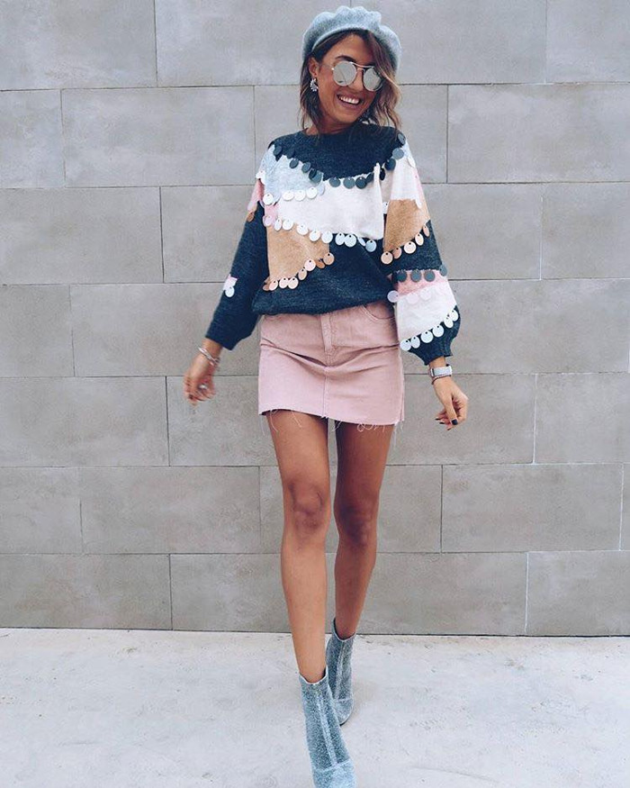 Casual Fall Outfits To Upgrade Your Everyday Style pale pink mini skirt and embellished sweater