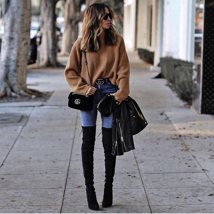 Casual Fall Outfits To Upgrade Your Everyday Style camel sweater, over the knee boots and skinny jeans
