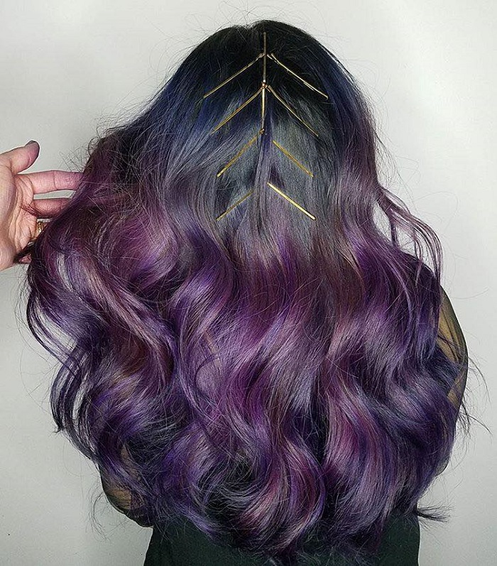 Fabulous Ways to Upgrade Your Hairstyle With Bobby Pins purple curly hair