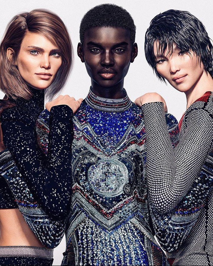 Balmain-Taps-Digital-Models-To-Front-Their-New-Campaign-embellished dress top