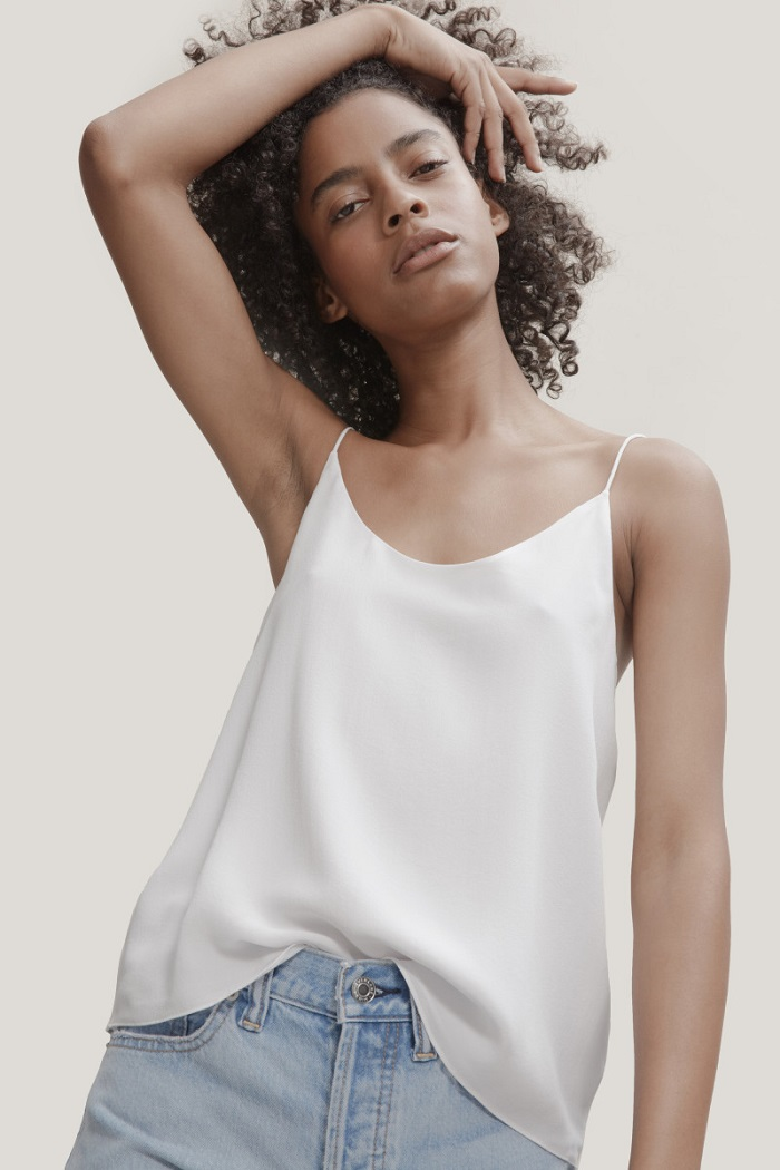 "Everlane-Is-Launching-Sustainable-""Clean-Silk""-white top"