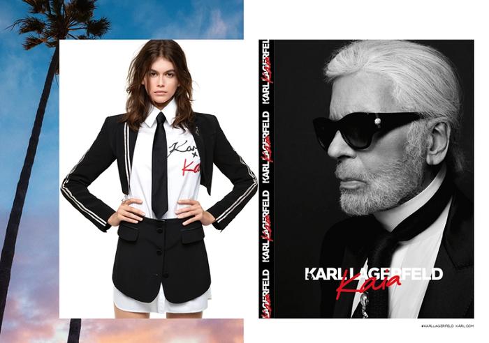 Kaia-Gerber's-Capsule-For-Karl-Lagerfeld-Is-Here-black blazer shorts white shirt