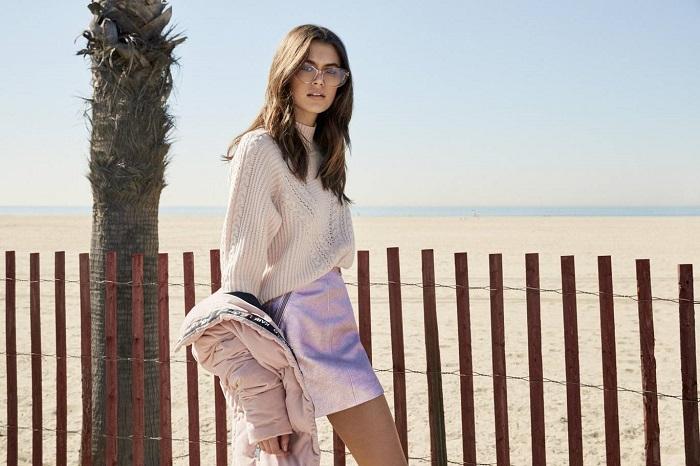 Kaia-Gerber's-Capsule-For-Karl-Lagerfeld-Is-Here-pink skirt sweater jacket