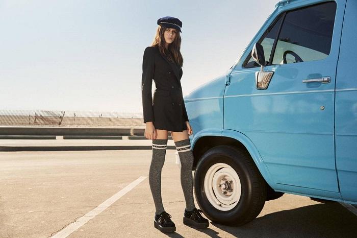 Kaia-Gerber's-Capsule-For-Karl-Lagerfeld-Is-Here-black blazer socks cap