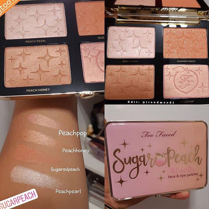 Too Faced Adds New Products To The Peaches & Cream Collection peach palette swatches