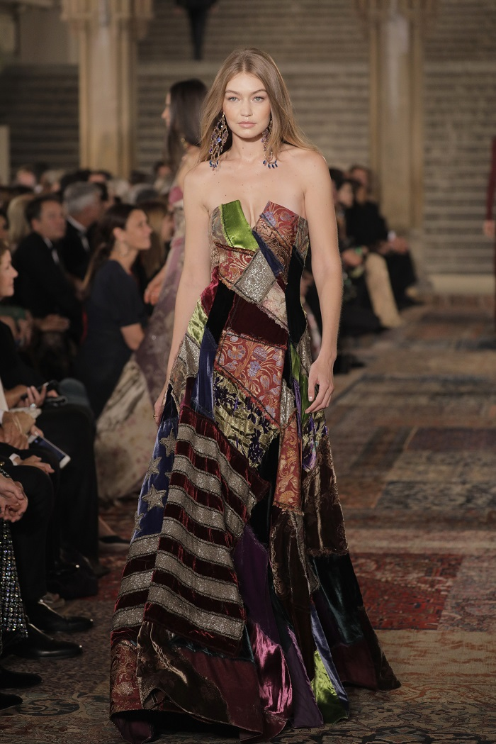 Ralph Lauren Spring 2019 RTW Collection at NYFW patchwork dress