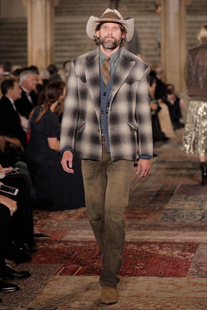 Ralph Lauren Spring 2019 RTW Collection at NYFW plaid coat denim shirt pants