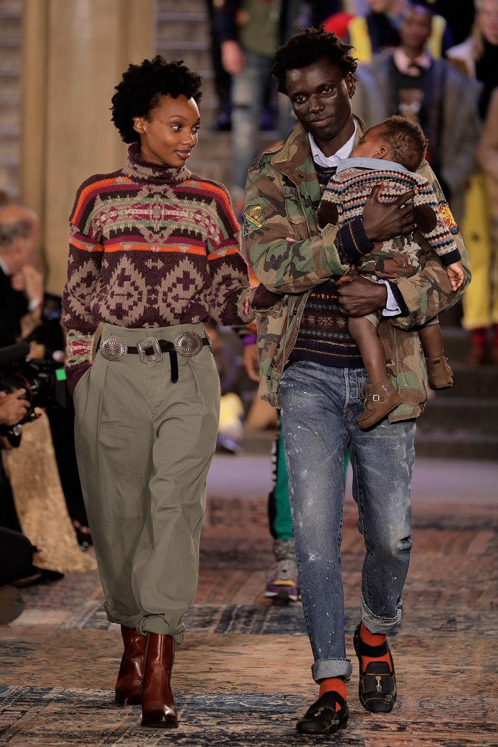 Ralph Lauren Spring 2019 RTW Collection at NYFW jeans pants camouflage coat sweater