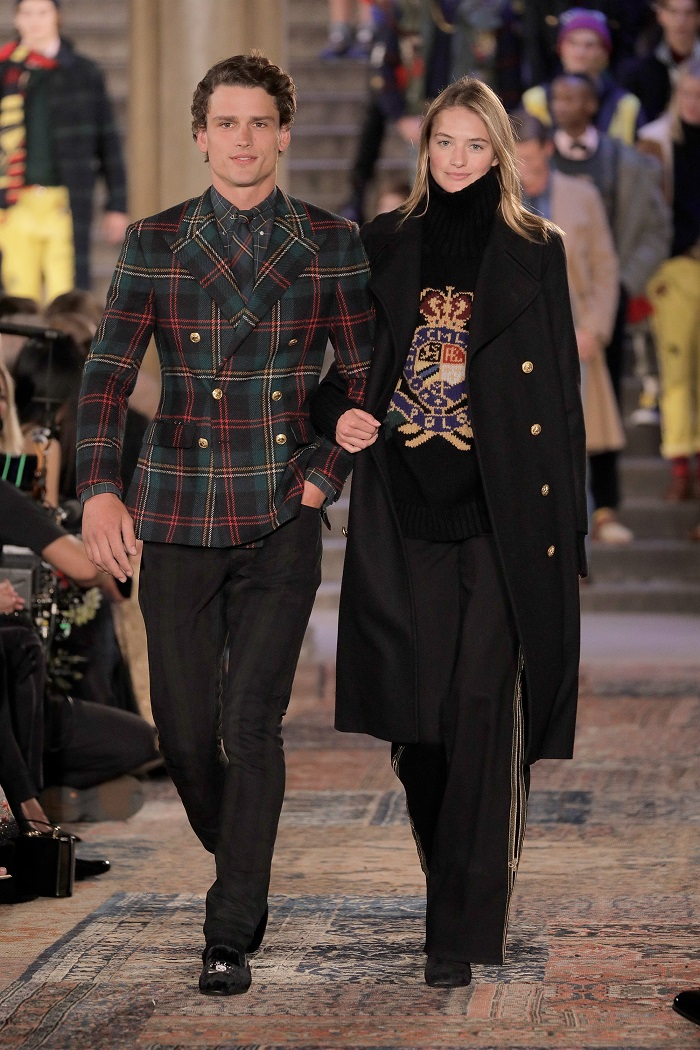 Ralph Lauren Spring 2019 RTW Collection at NYFW plaid coat black pants coat sweater