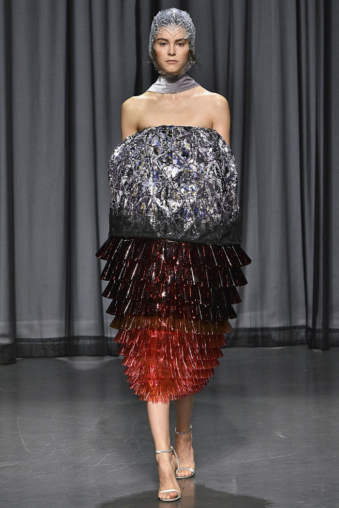 The Most Fabulous Dresses From LFW You Have To See To Believe metallic red silver black dress