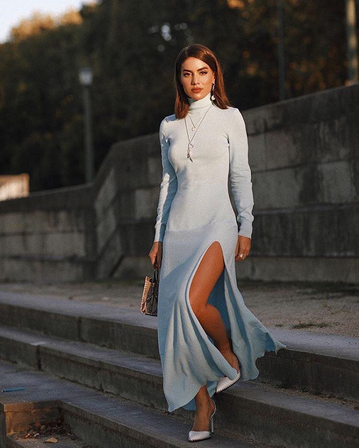 Hottest-Street-Style-Looks-From-PFW-That-Will-Make-You-Go-WOW-high slit dress