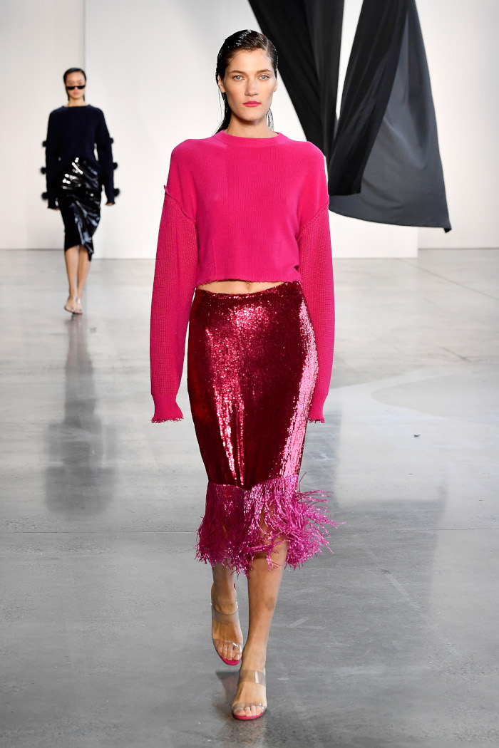 The Runways Dictate There's A New Way To Stand Out In Monochrome magenta skirt top