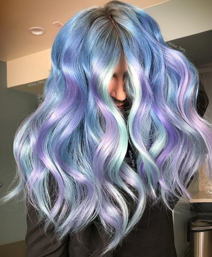 Metallic-Hair-Colors-You-Have-To-Try-This-Season-purple green