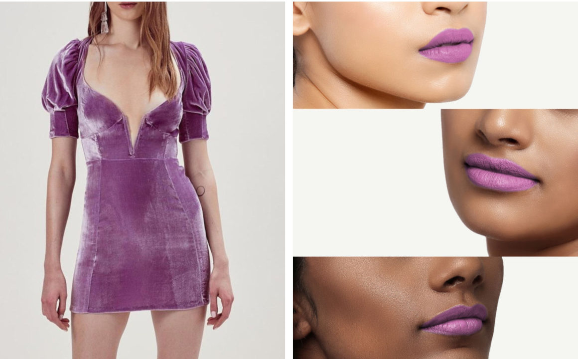 Lavender Fashion trend dress and lipstick