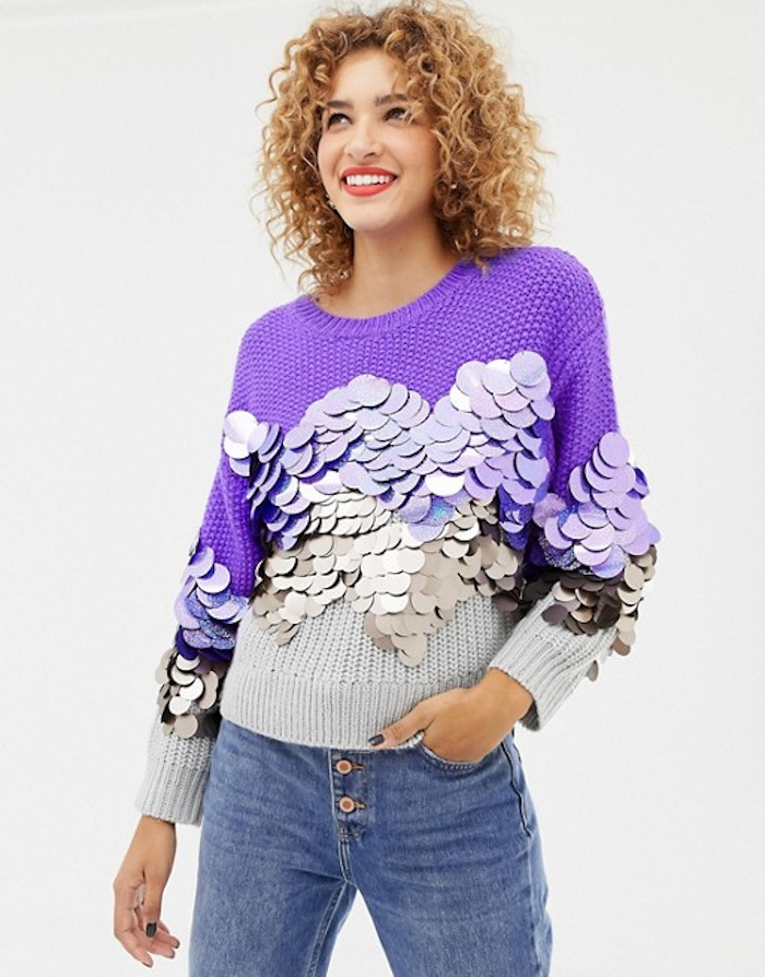 purple oversized sweater