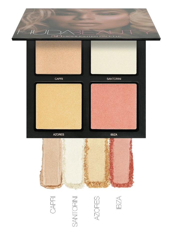 best highlighters - huda beauty 3d highlight palette pink sands