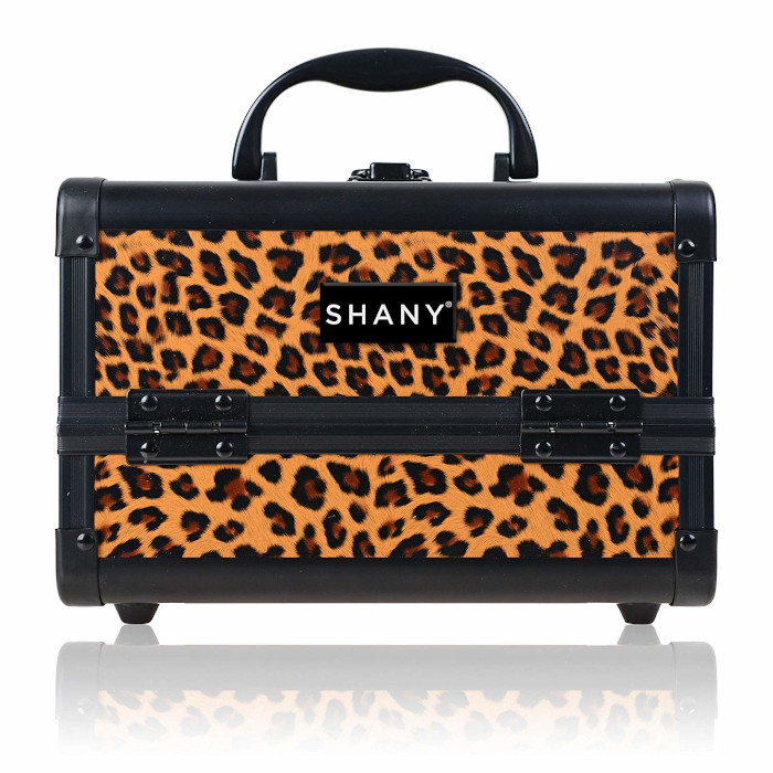 best makeup organizers - shany mini makeup train case with mirror lost cheetah