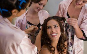 happy bride getting ready