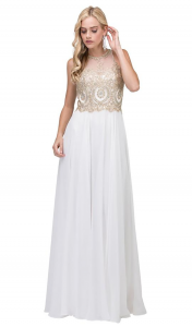 Sleeveless Flowing A-Line Dresses with Illusion Jewel Neckline