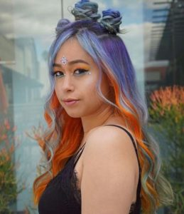 bold color block hair colors
