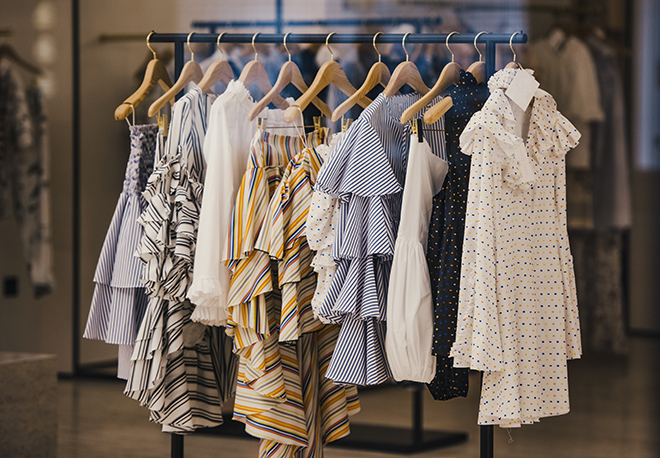 garments-with-prints-and-stripes-on-a-rack