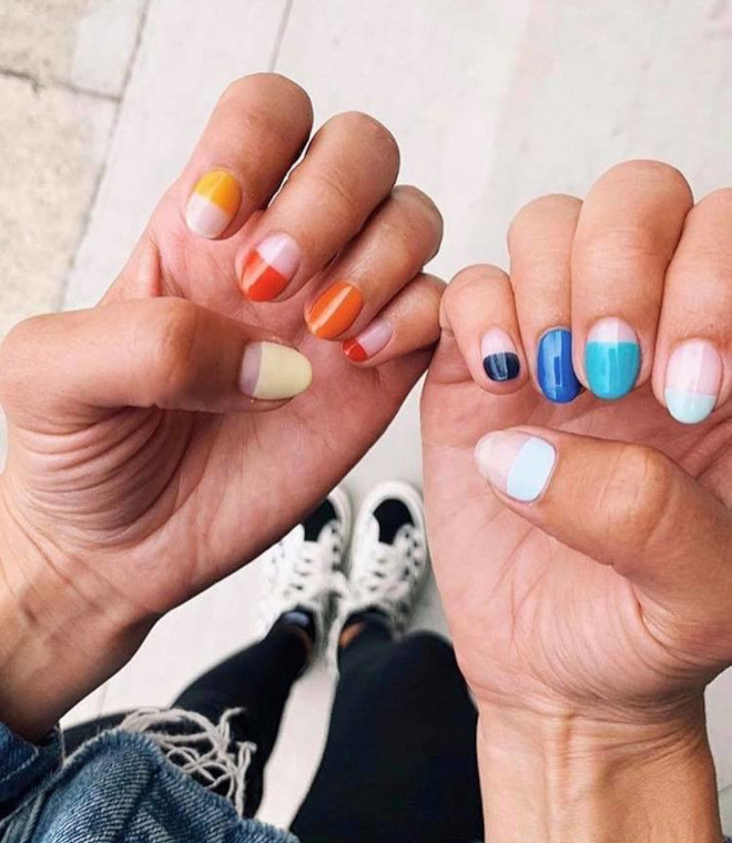 half-dip nails are the new way to do french manicure
