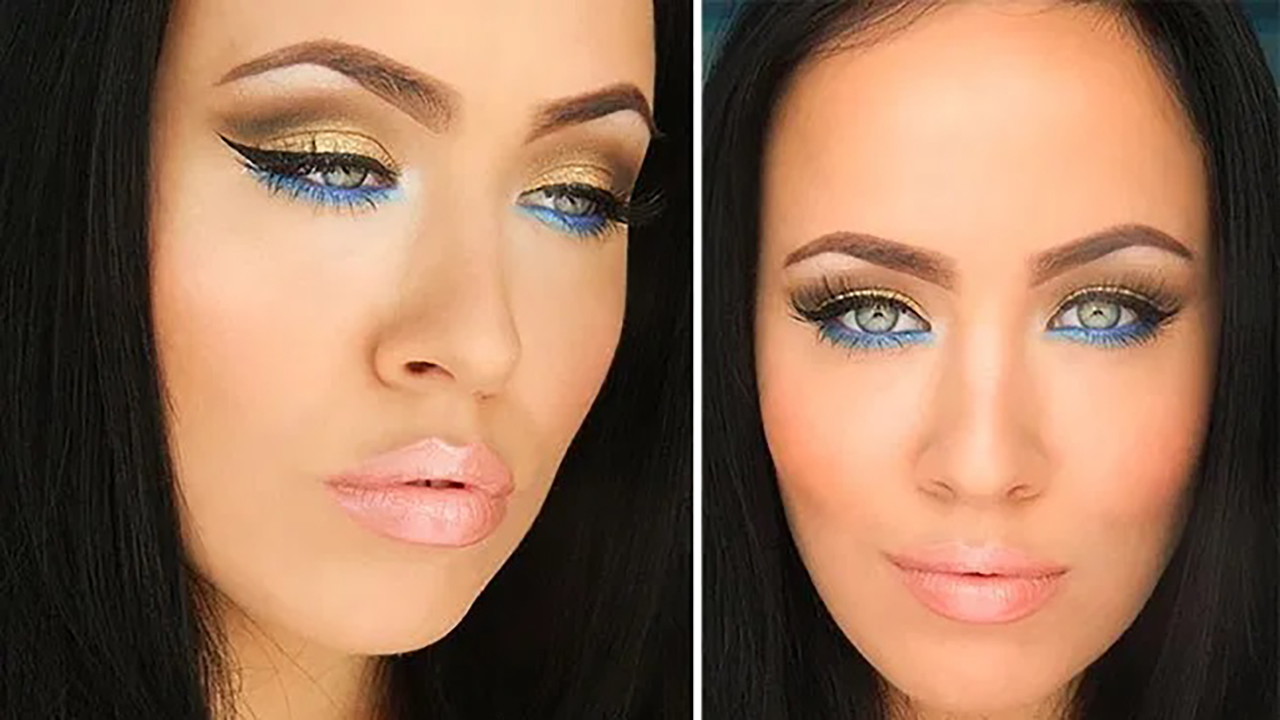 Gold Makeup Tutorial with Blue Under-Eye Liner   Fashionisers©