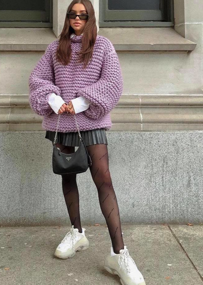 how to dress up chunky sweater outfits