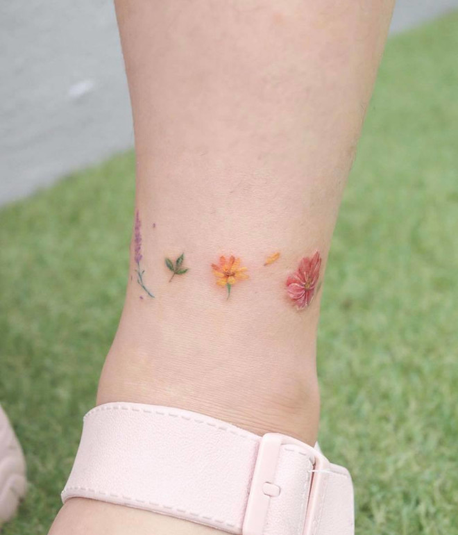 adorable small ankle tattoos for women