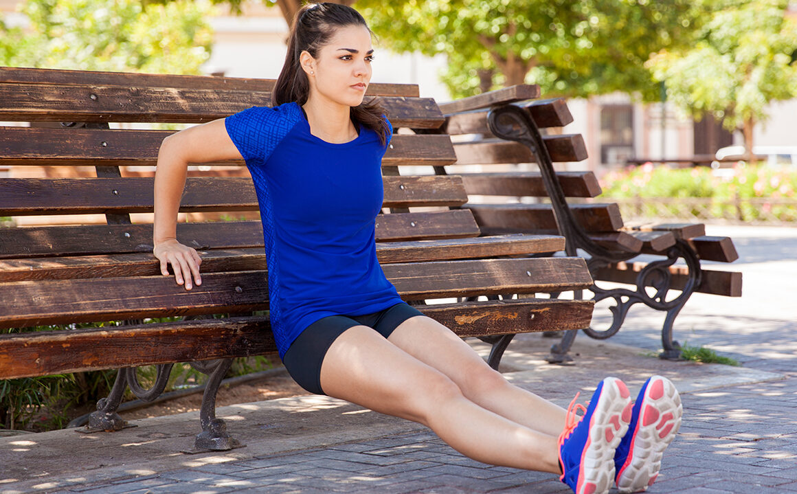 benefits-of-healthy-weight-management-woman-squatting-on-park-bench