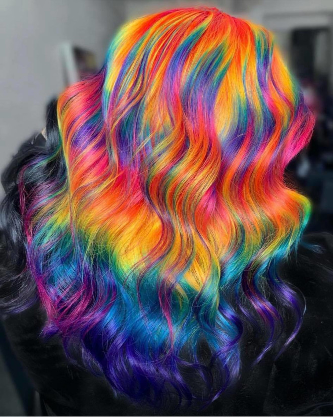 the rainbow hair trend is here to add some color in the pandemic world